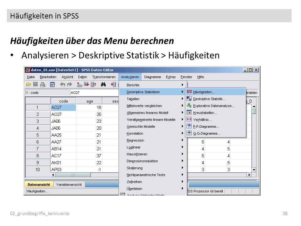 Häufigkeiten in SPSS Häufigkeiten über das Menu berechnen Analysieren > Deskriptive Statistik > Häufigkeiten 02_grundbegriffe_kennwerte38