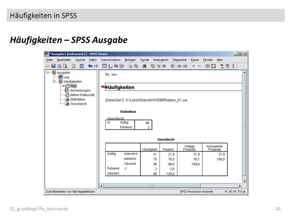 Häufigkeiten in SPSS Häufigkeiten – SPSS Ausgabe 02_grundbegriffe_kennwerte41