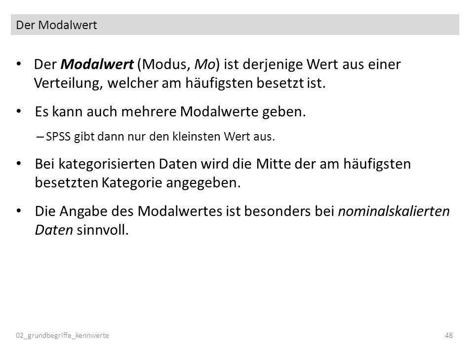 Der Modalwert 02_grundbegriffe_kennwerte48 Der Modalwert (Modus, Mo) ist derjenige Wert aus einer Verteilung, welcher am häufigsten besetzt ist. Es ka