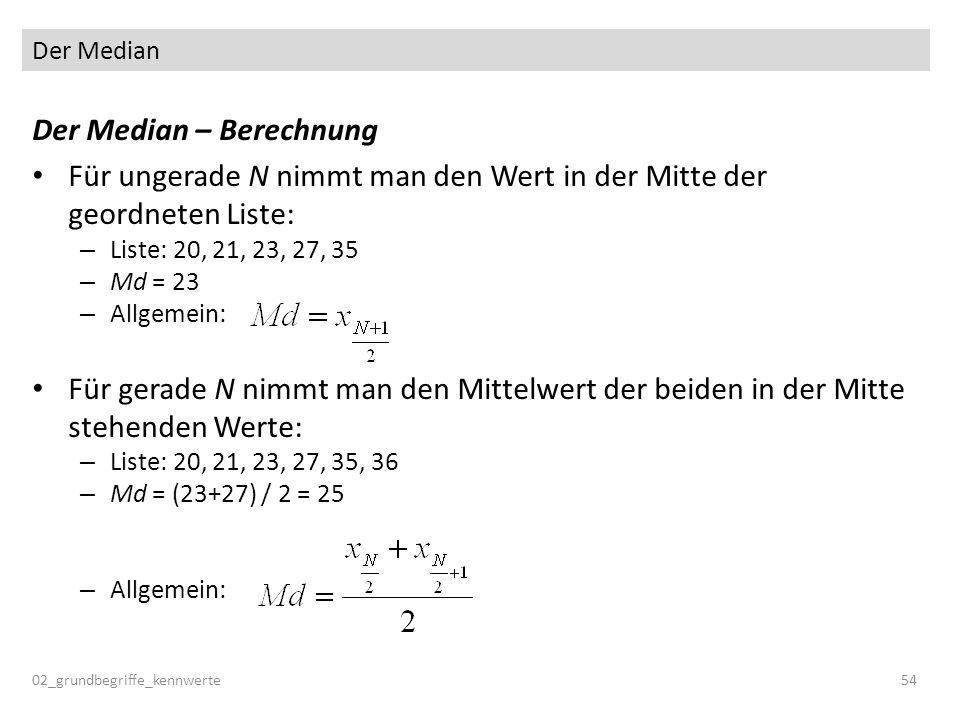 Der Median 02_grundbegriffe_kennwerte54 Der Median – Berechnung Für ungerade N nimmt man den Wert in der Mitte der geordneten Liste: – Liste: 20, 21,