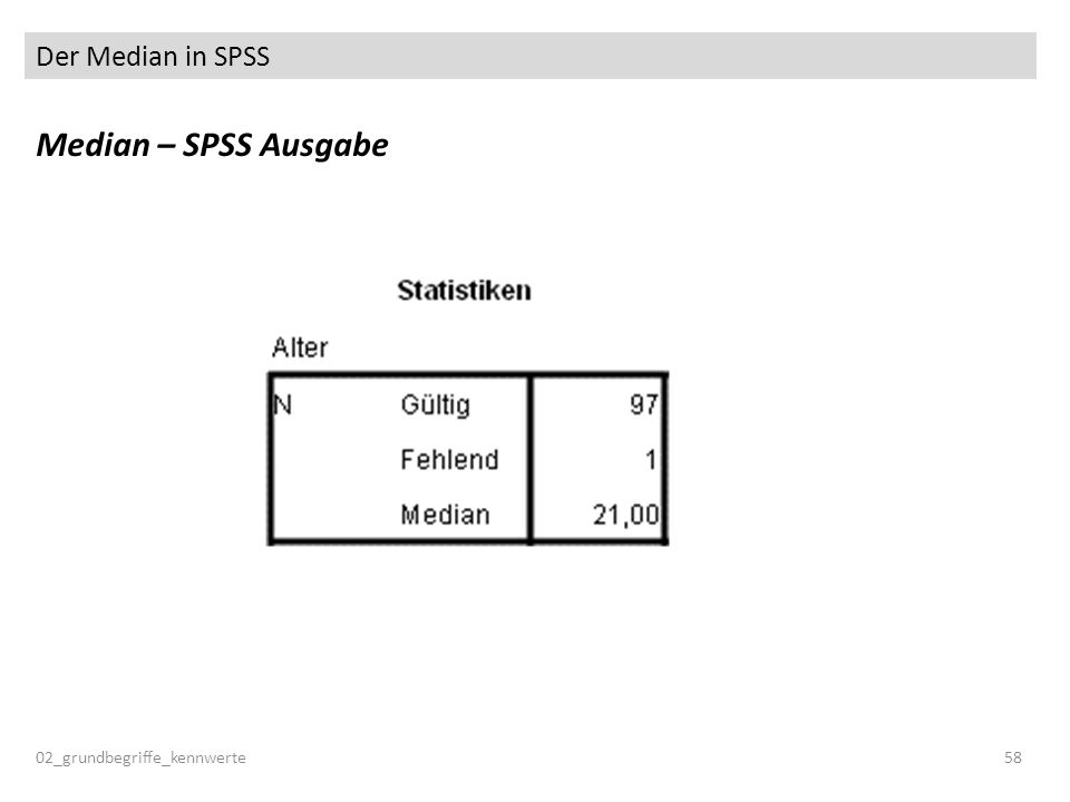Der Median in SPSS 02_grundbegriffe_kennwerte58 Median – SPSS Ausgabe