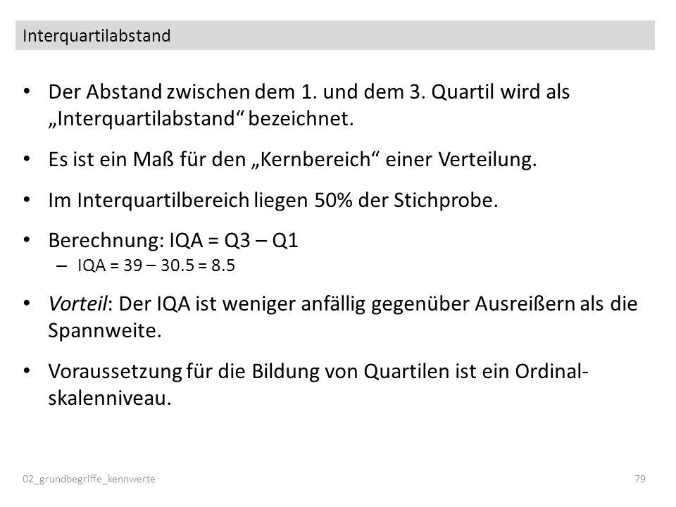 Interquartilabstand Der Abstand zwischen dem 1. und dem 3. Quartil wird als Interquartilabstand bezeichnet. Es ist ein Maß für den Kernbereich einer V