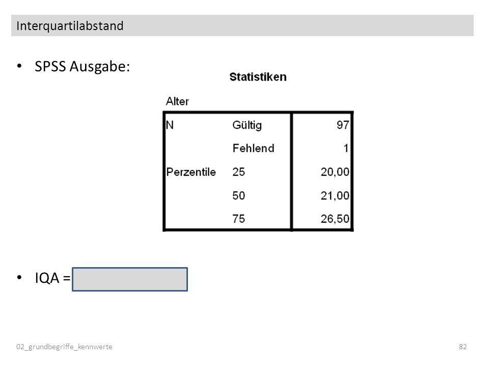 SPSS Ausgabe: IQA = 26.5 – 20.0 = 6.5 Interquartilabstand 02_grundbegriffe_kennwerte82