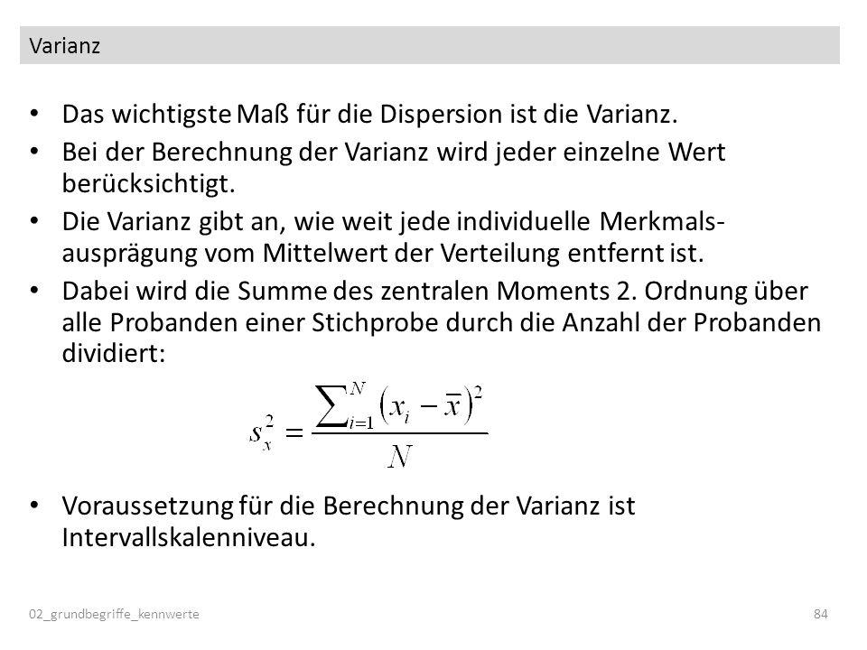 Varianz Das wichtigste Maß für die Dispersion ist die Varianz. Bei der Berechnung der Varianz wird jeder einzelne Wert berücksichtigt. Die Varianz gib