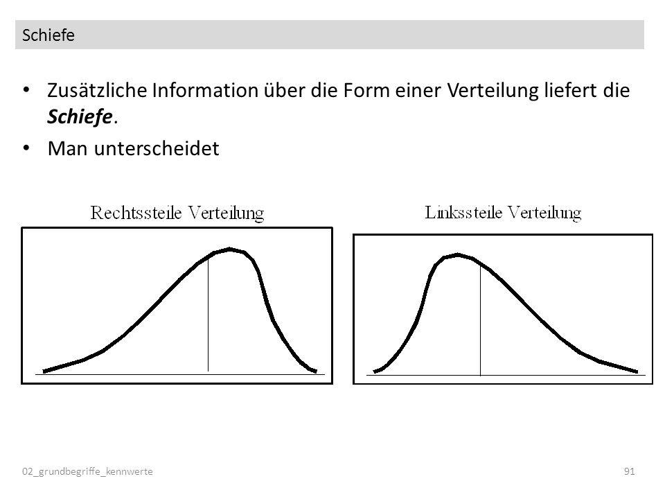 Schiefe Zusätzliche Information über die Form einer Verteilung liefert die Schiefe. Man unterscheidet 02_grundbegriffe_kennwerte91