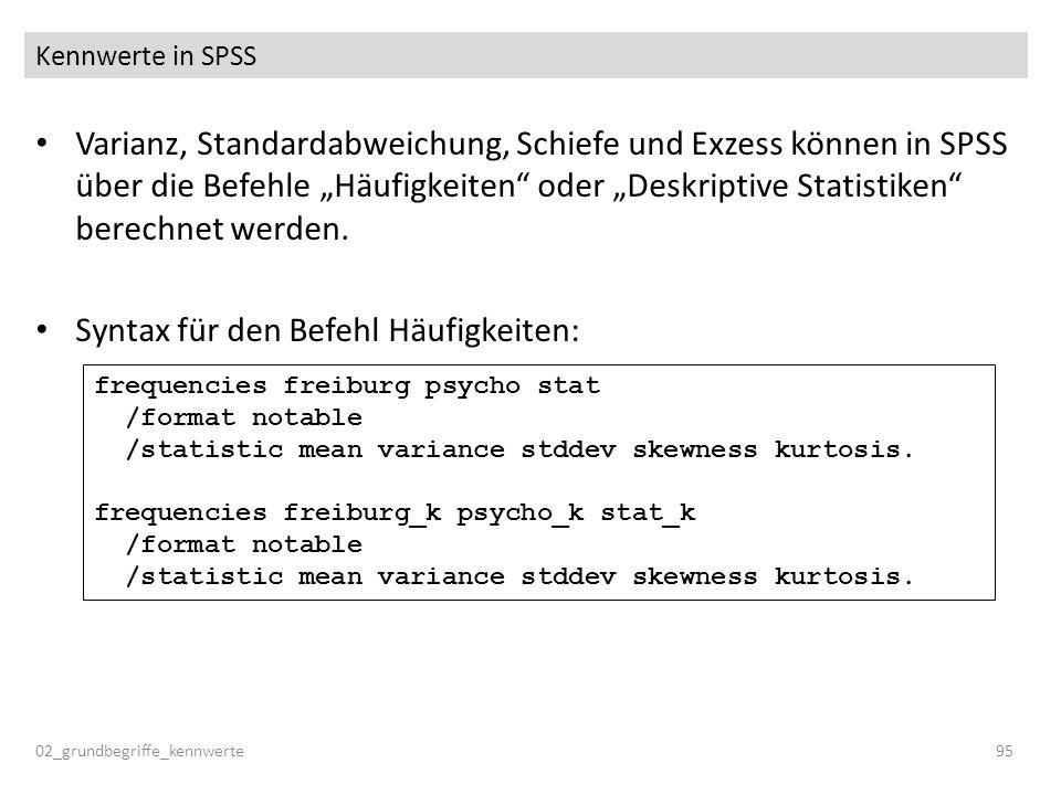 Kennwerte in SPSS Varianz, Standardabweichung, Schiefe und Exzess können in SPSS über die Befehle Häufigkeiten oder Deskriptive Statistiken berechnet