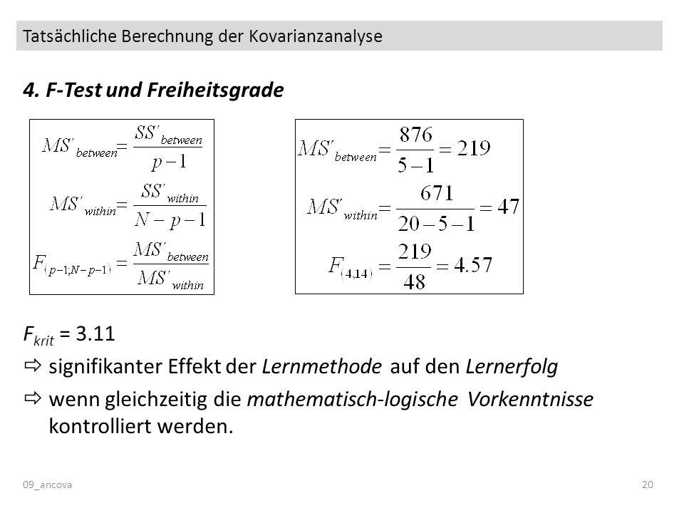 Tatsächliche Berechnung der Kovarianzanalyse 09_ancova20 4. F-Test und Freiheitsgrade F krit = 3.11 signifikanter Effekt der Lernmethode auf den Lerne