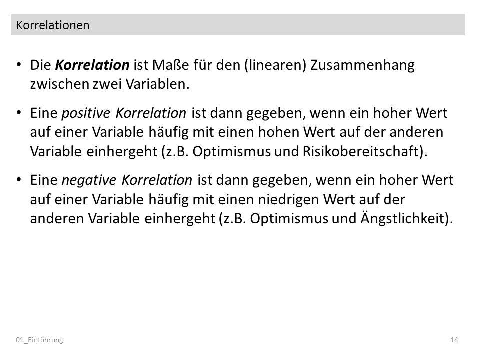 Korrelationen Die Korrelation ist Maße für den (linearen) Zusammenhang zwischen zwei Variablen. Eine positive Korrelation ist dann gegeben, wenn ein h