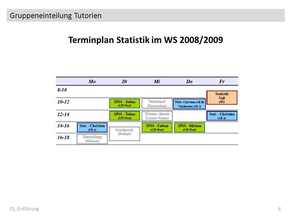 Gruppeneinteilung Tutorien 01_Einführung6 Terminplan Statistik im WS 2008/2009