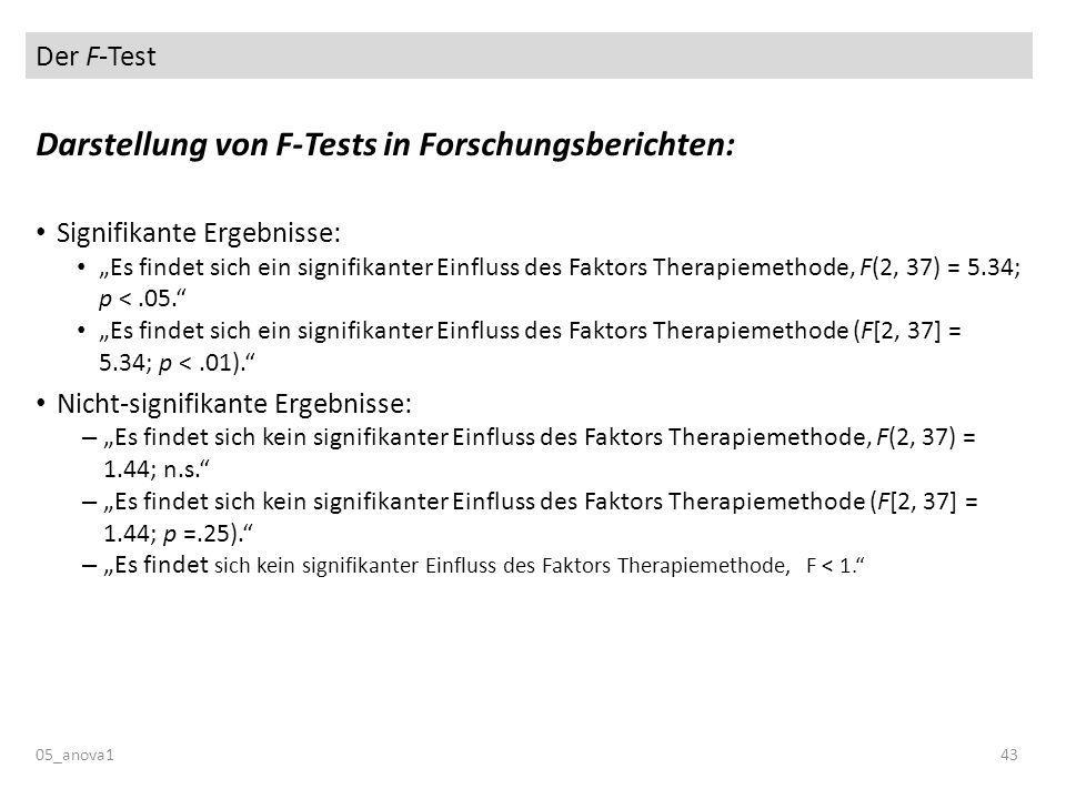 Der F-Test 05_anova143 Darstellung von F-Tests in Forschungsberichten: Signifikante Ergebnisse: Es findet sich ein signifikanter Einfluss des Faktors Therapiemethode, F(2, 37) = 5.34; p <.05.