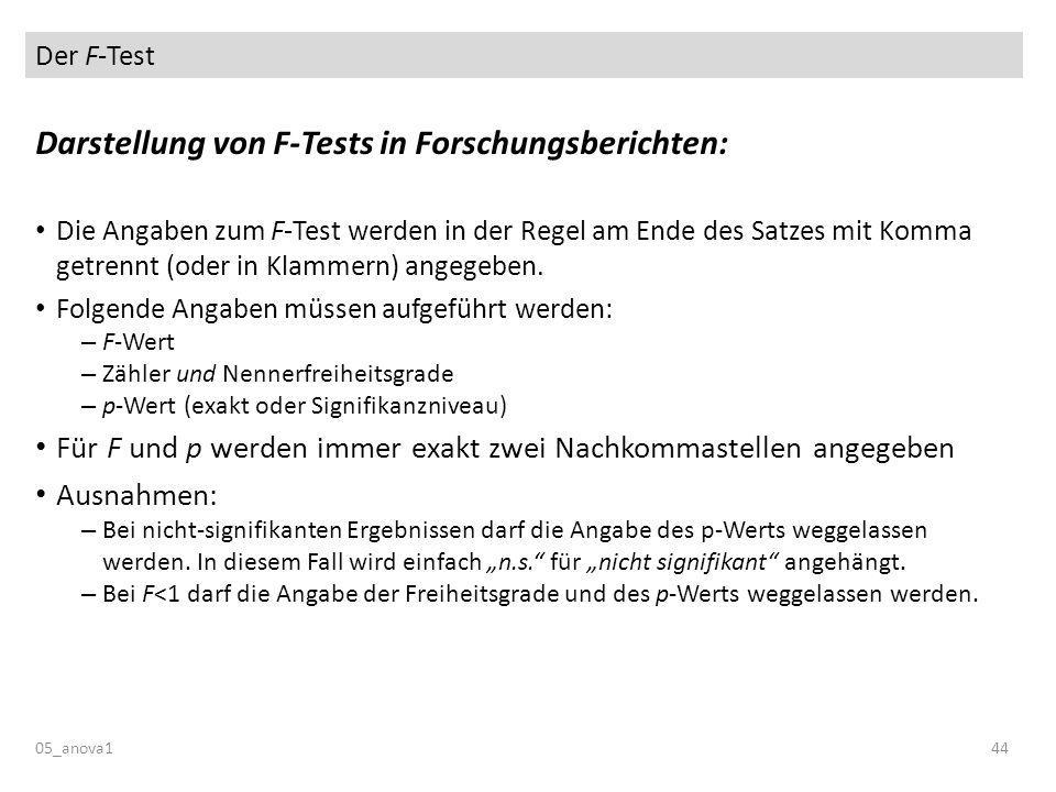 Der F-Test 05_anova144 Darstellung von F-Tests in Forschungsberichten: Die Angaben zum F-Test werden in der Regel am Ende des Satzes mit Komma getrennt (oder in Klammern) angegeben.