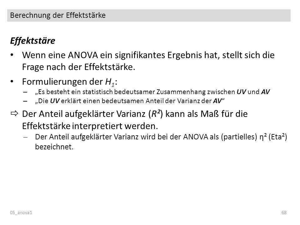 Berechnung der Effektstärke 05_anova168 Effektstäre Wenn eine ANOVA ein signifikantes Ergebnis hat, stellt sich die Frage nach der Effektstärke. Formu