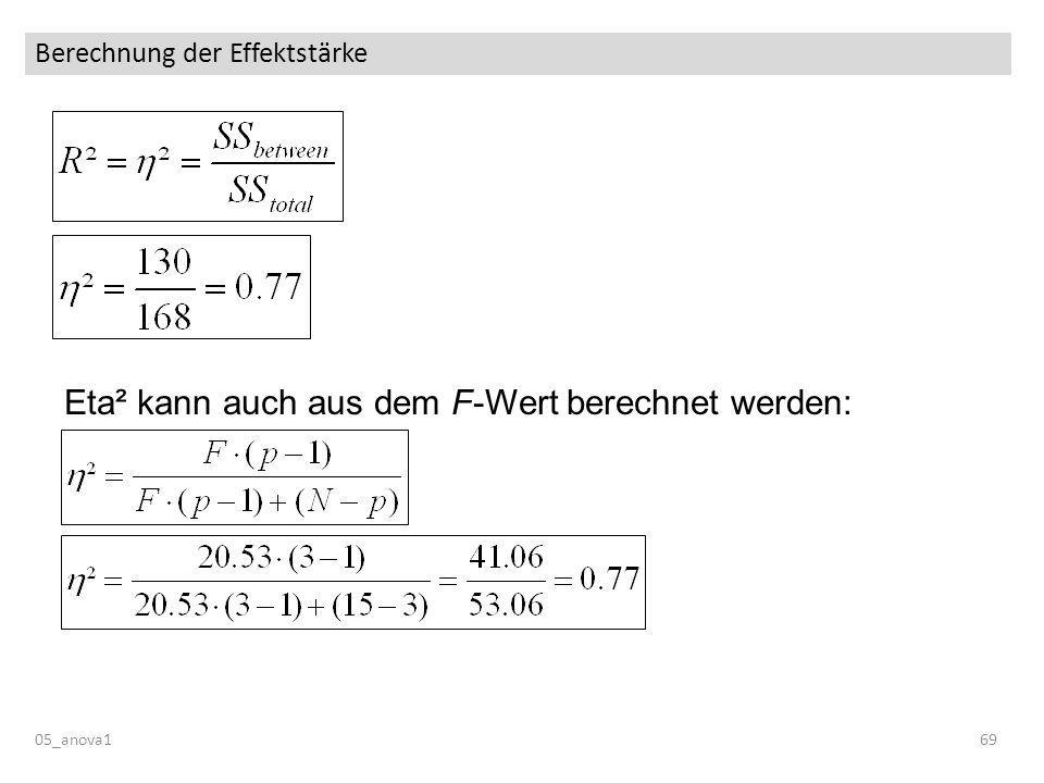 Berechnung der Effektstärke 05_anova169 Eta² kann auch aus dem F-Wert berechnet werden: