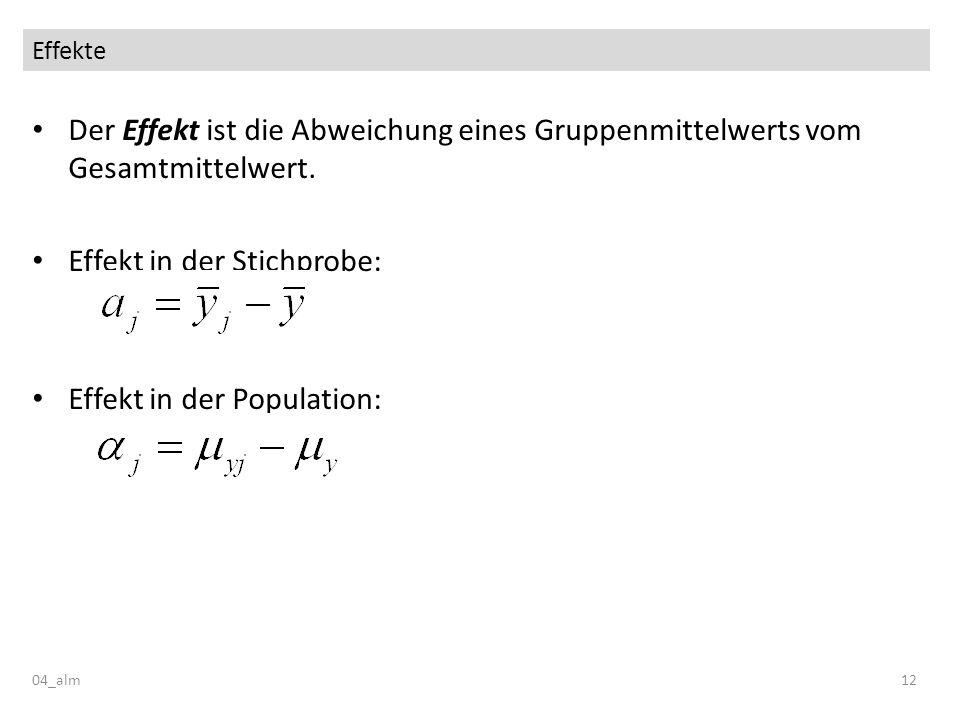 Effekte 04_alm12 Der Effekt ist die Abweichung eines Gruppenmittelwerts vom Gesamtmittelwert. Effekt in der Stichprobe: Effekt in der Population: