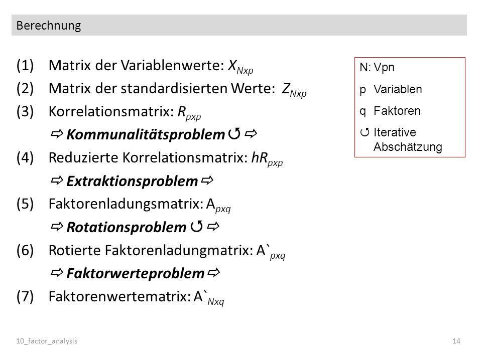 Berechnung (1)Matrix der Variablenwerte: X Nxp (2)Matrix der standardisierten Werte: Z Nxp (3)Korrelationsmatrix: R pxp Kommunalitätsproblem (4)Reduzi