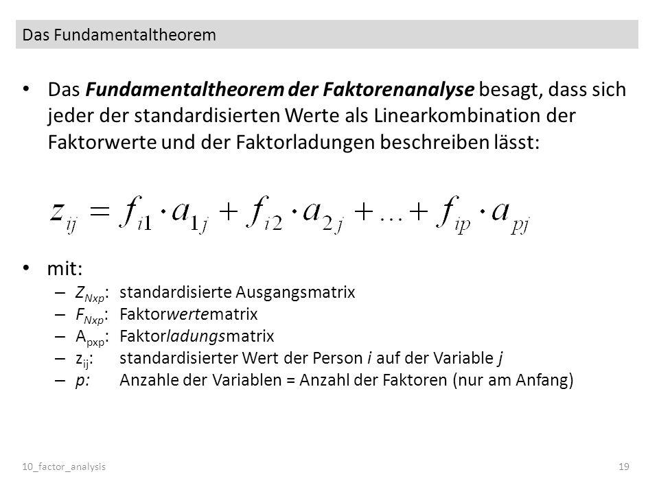 Das Fundamentaltheorem Das Fundamentaltheorem der Faktorenanalyse besagt, dass sich jeder der standardisierten Werte als Linearkombination der Faktorw