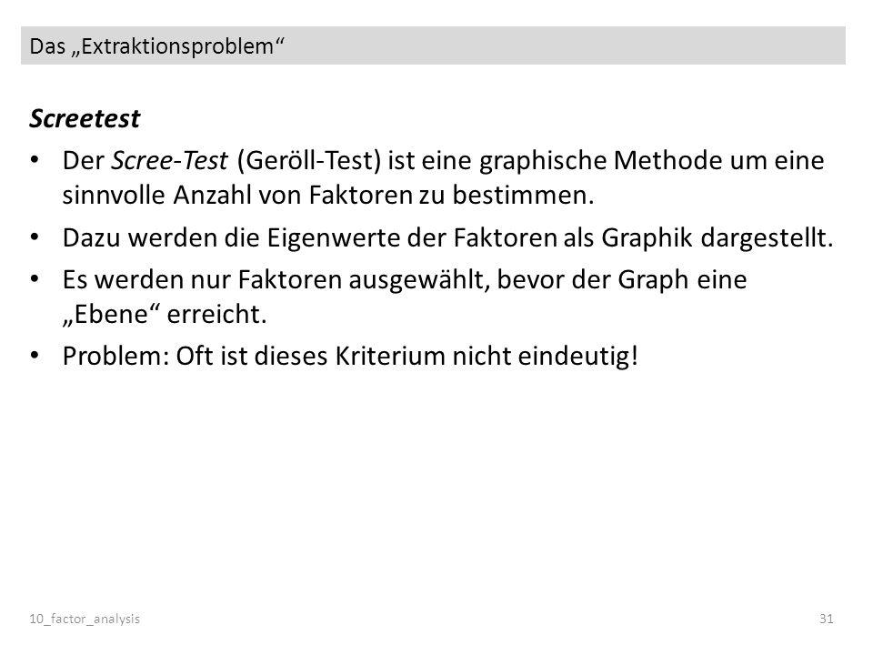 Das Extraktionsproblem Screetest Der Scree-Test (Geröll-Test) ist eine graphische Methode um eine sinnvolle Anzahl von Faktoren zu bestimmen. Dazu wer