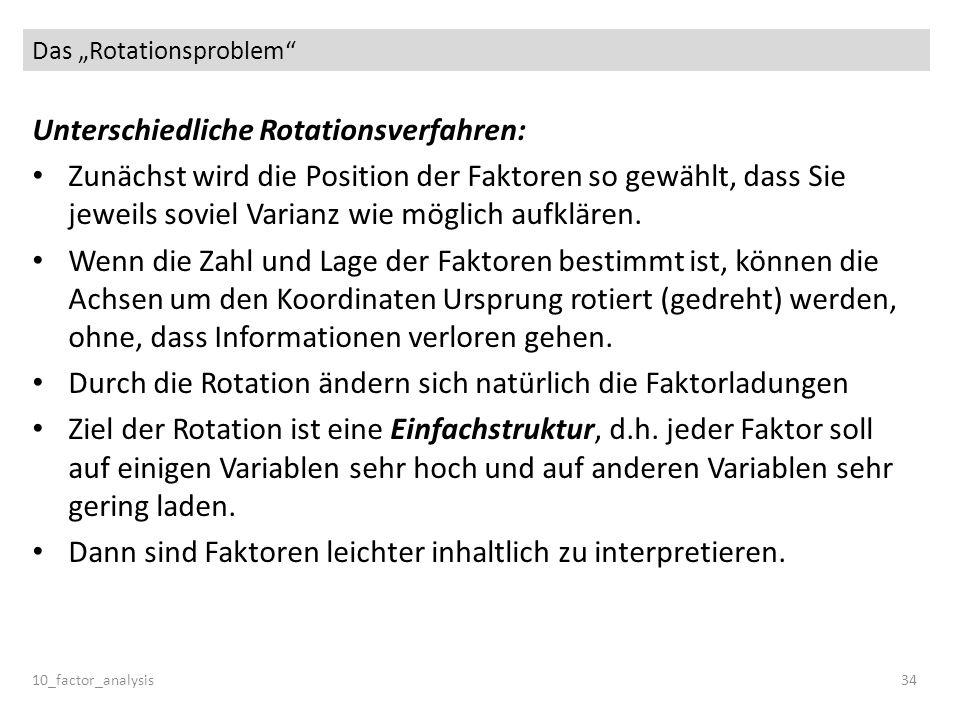 Das Rotationsproblem 10_factor_analysis34 Unterschiedliche Rotationsverfahren: Zunächst wird die Position der Faktoren so gewählt, dass Sie jeweils so