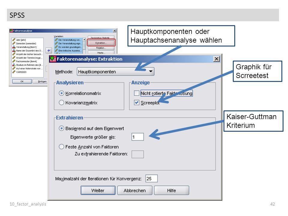 SPSS 10_factor_analysis42 Hauptkomponenten oder Hauptachsenanalyse wählen Graphik für Scrreetest Kaiser-Guttman Kriterium