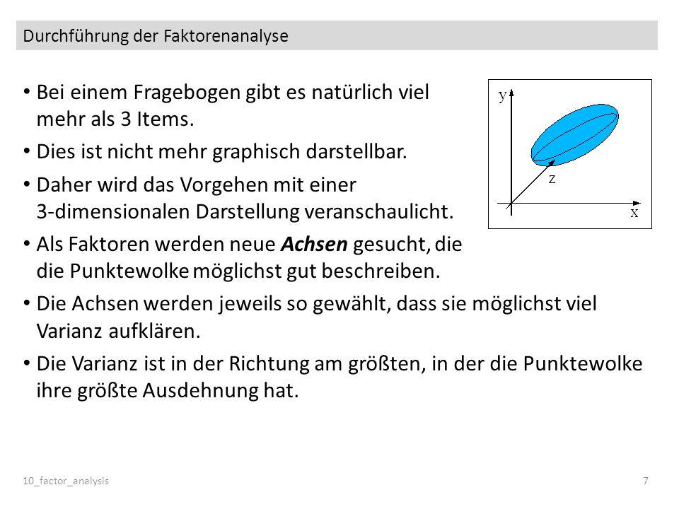 Das Extraktionsproblem Kaiser-Gutman-Regel Nach der Kaiser-Gutman-Regel werden nur Faktoren mit einem Eigenwert > 1 berücksichtigt.