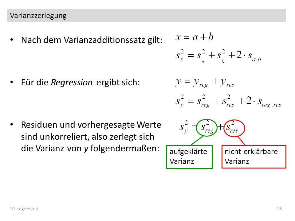 Varianzzerlegung Nach dem Varianzadditionssatz gilt: Für die Regression ergibt sich: Residuen und vorhergesagte Werte sind unkorreliert, also zerlegt