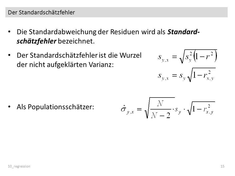 Der Standardschätzfehler Die Standardabweichung der Residuen wird als Standard- schätzfehler bezeichnet. Der Standardschätzfehler ist die Wurzel der n