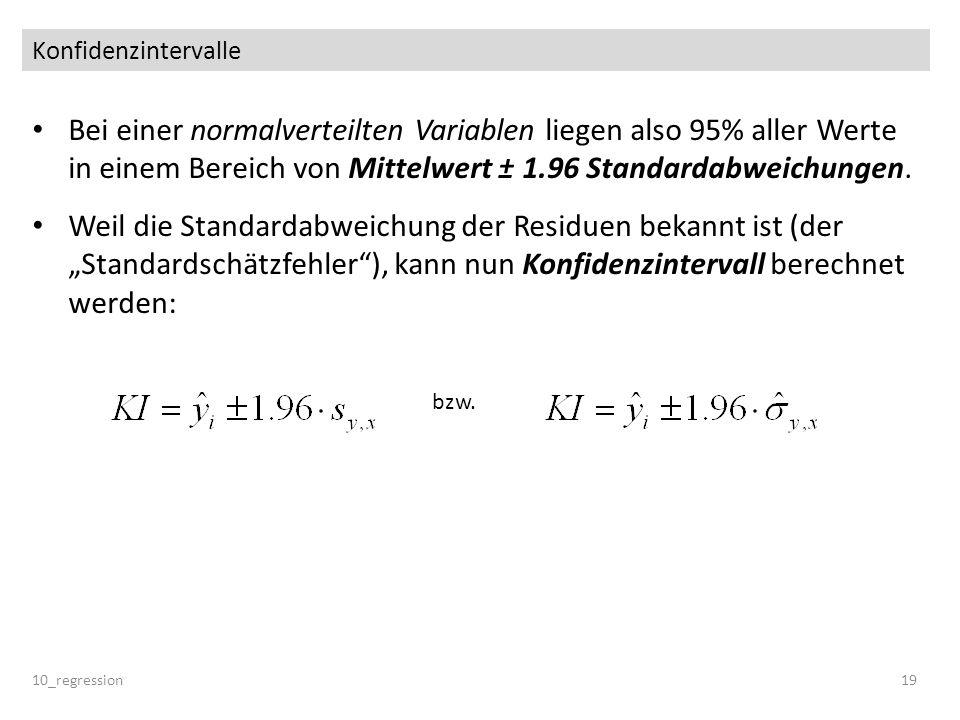 Konfidenzintervalle Bei einer normalverteilten Variablen liegen also 95% aller Werte in einem Bereich von Mittelwert ± 1.96 Standardabweichungen. Weil