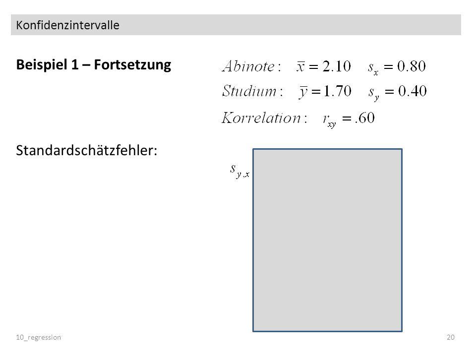 Konfidenzintervalle Beispiel 1 – Fortsetzung Standardschätzfehler: 10_regression20