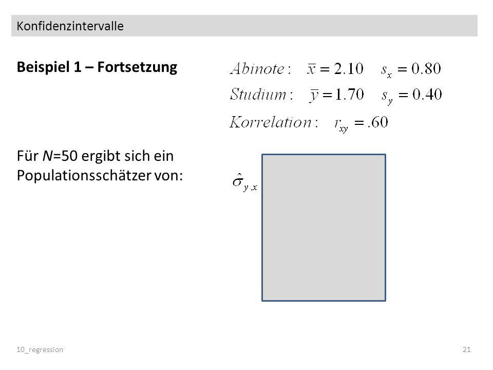 Konfidenzintervalle Beispiel 1 – Fortsetzung Für N=50 ergibt sich ein Populationsschätzer von: 10_regression21