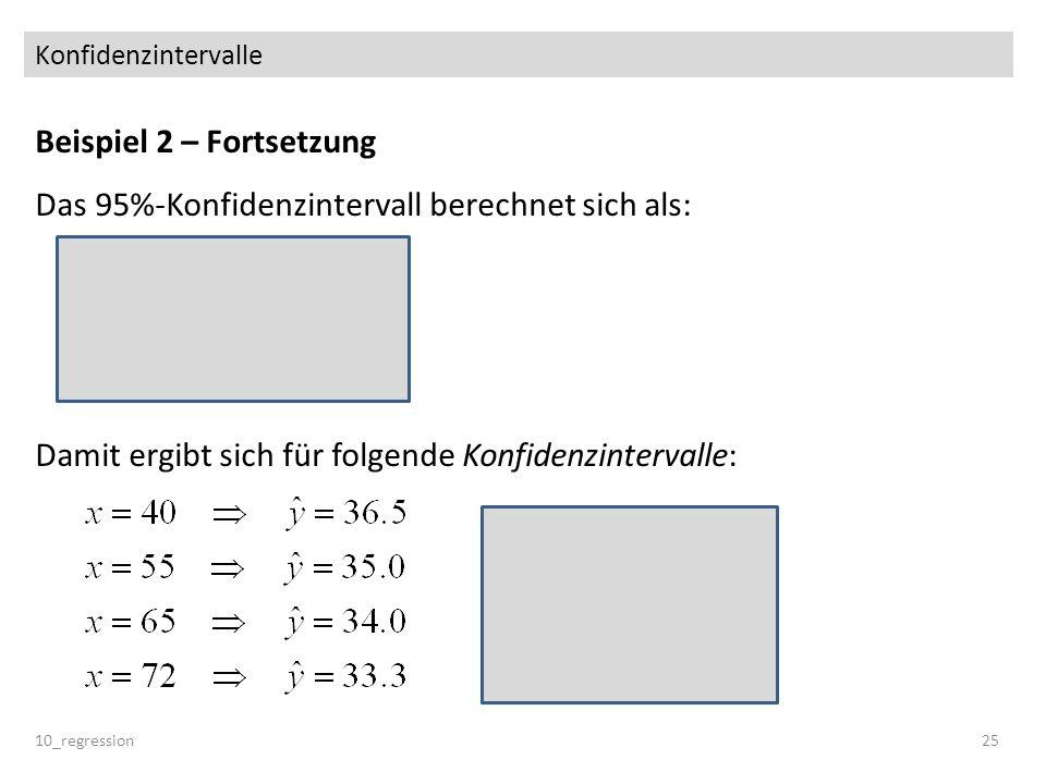 Konfidenzintervalle Beispiel 2 – Fortsetzung Das 95%-Konfidenzintervall berechnet sich als: Damit ergibt sich für folgende Konfidenzintervalle: 10_reg