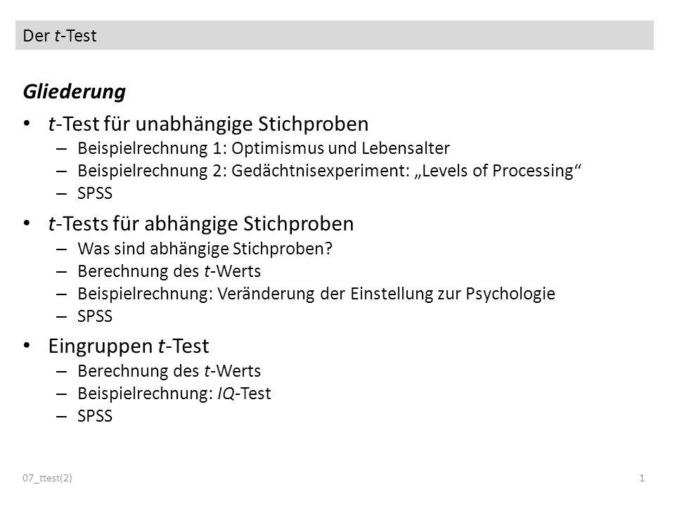 Der t-Test 07_ttest(2)1 Gliederung t-Test für unabhängige Stichproben – Beispielrechnung 1: Optimismus und Lebensalter – Beispielrechnung 2: Gedächtni