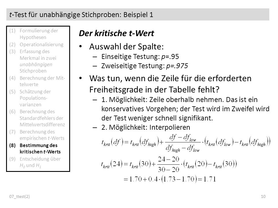 t-Test für unabhängige Stichproben: Beispiel 1 07_ttest(2)10 Der kritische t-Wert Auswahl der Spalte: – Einseitige Testung: p=.95 – Zweiseitige Testun