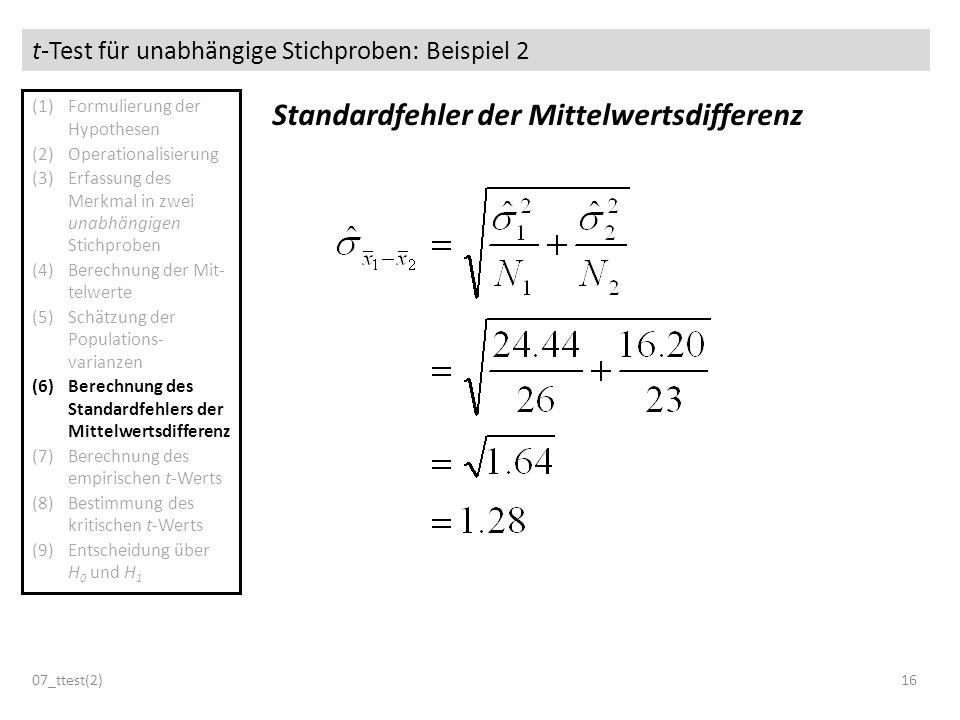 t-Test für unabhängige Stichproben: Beispiel 2 07_ttest(2)16 Standardfehler der Mittelwertsdifferenz (1)Formulierung der Hypothesen (2)Operationalisie