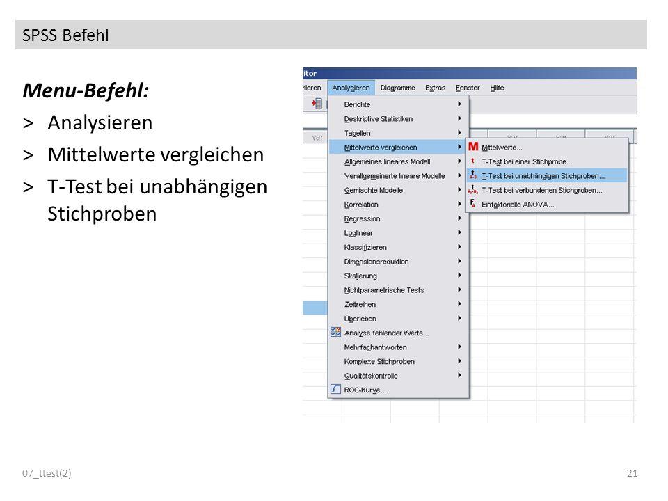 SPSS Befehl Menu-Befehl: >Analysieren >Mittelwerte vergleichen >T-Test bei unabhängigen Stichproben 07_ttest(2)21