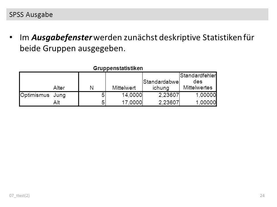 Im Ausgabefenster werden zunächst deskriptive Statistiken für beide Gruppen ausgegeben. SPSS Ausgabe 07_ttest(2)24 Gruppenstatistiken AlterNMittelwert