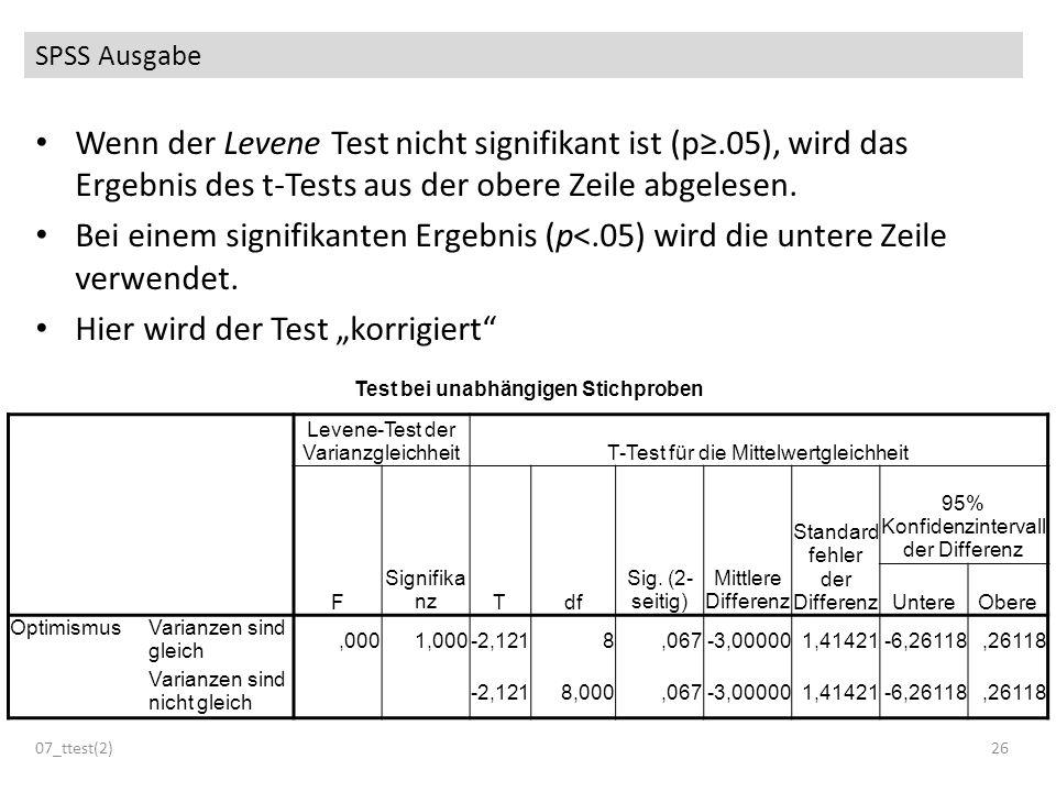 SPSS Ausgabe 07_ttest(2)26 Test bei unabhängigen Stichproben Levene-Test der VarianzgleichheitT-Test für die Mittelwertgleichheit F Signifika nzTdf Si