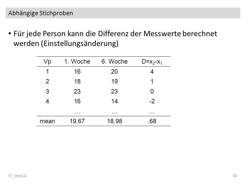 Abhängige Stichproben Für jede Person kann die Differenz der Messwerte berechnet werden (Einstellungsänderung) 07_ttest(2)36 Vp1. Woche6. WocheD=x 2 -