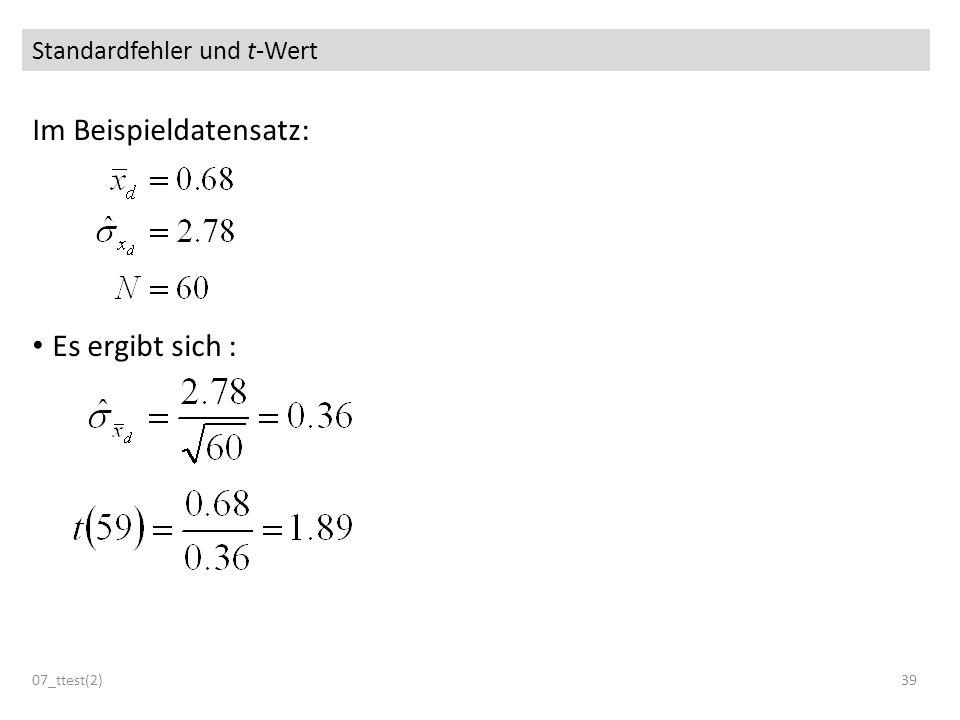 Standardfehler und t-Wert Im Beispieldatensatz: Es ergibt sich : 07_ttest(2)39