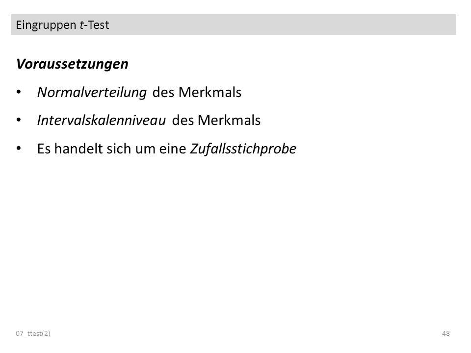 Eingruppen t-Test Voraussetzungen Normalverteilung des Merkmals Intervalskalenniveau des Merkmals Es handelt sich um eine Zufallsstichprobe 07_ttest(2