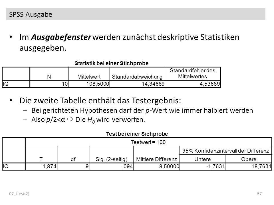 Im Ausgabefenster werden zunächst deskriptive Statistiken ausgegeben. Die zweite Tabelle enthält das Testergebnis: – Bei gerichteten Hypothesen darf d