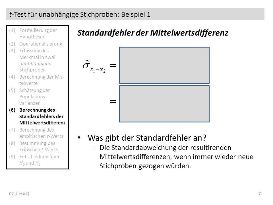 t-Test für unabhängige Stichproben: Beispiel 1 07_ttest(2)7 Standardfehler der Mittelwertsdifferenz Was gibt der Standardfehler an? – Die Standardabwe