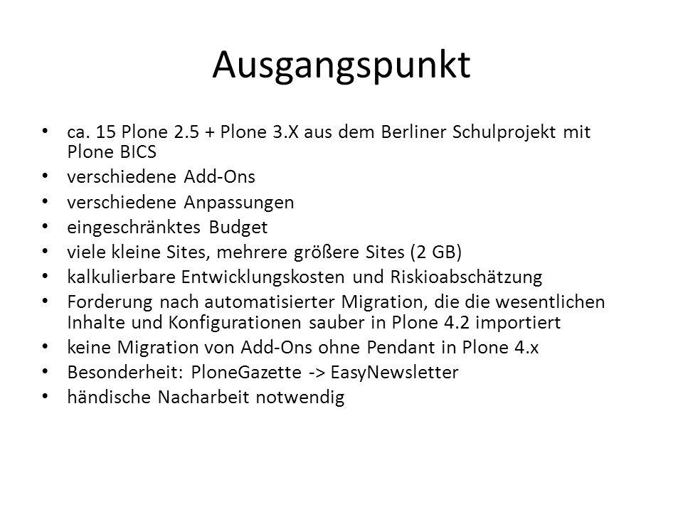 Ausgangspunkt ca. 15 Plone 2.5 + Plone 3.X aus dem Berliner Schulprojekt mit Plone BICS verschiedene Add-Ons verschiedene Anpassungen eingeschränktes