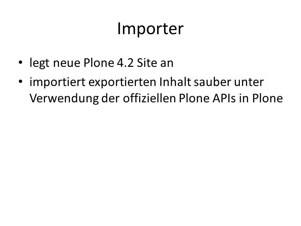 Importer legt neue Plone 4.2 Site an importiert exportierten Inhalt sauber unter Verwendung der offiziellen Plone APIs in Plone
