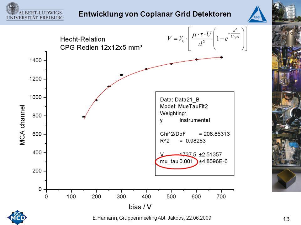 13 E.Hamann, Gruppenmeeting Abt. Jakobs, 22.06.2009 Entwicklung von Coplanar Grid Detektoren