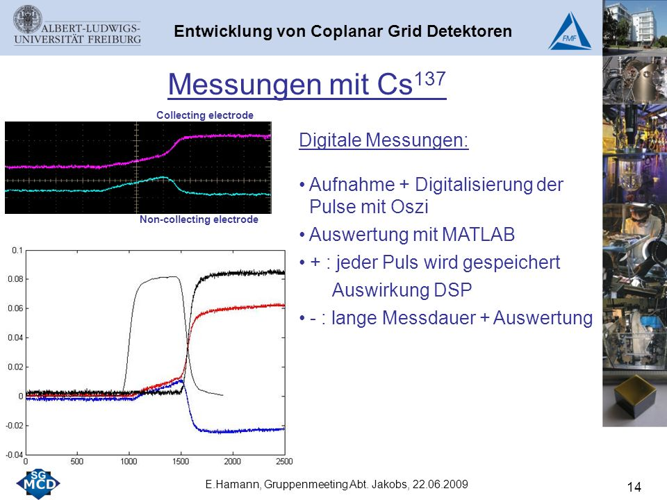 14 Messungen mit Cs 137 Collecting electrode Non-collecting electrode E.Hamann, Gruppenmeeting Abt.