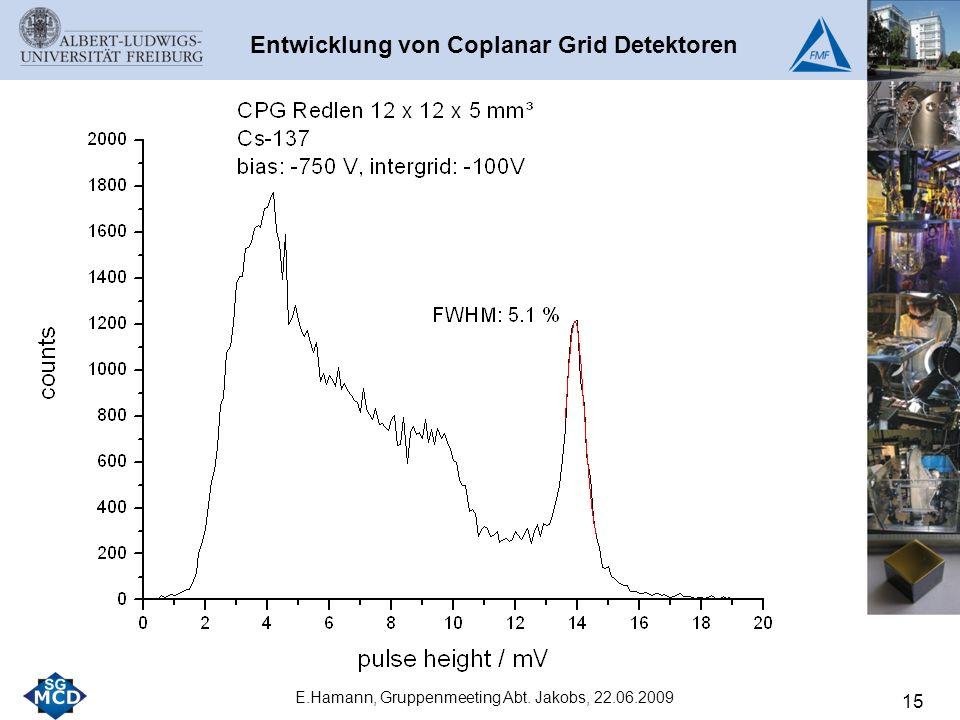 15 E.Hamann, Gruppenmeeting Abt. Jakobs, 22.06.2009 Entwicklung von Coplanar Grid Detektoren