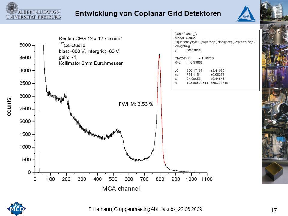 17 E.Hamann, Gruppenmeeting Abt. Jakobs, 22.06.2009 Entwicklung von Coplanar Grid Detektoren