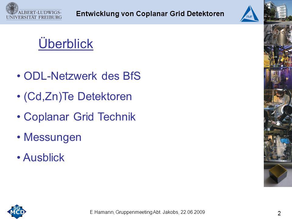 ODL-Netzwerk des BfS (Cd,Zn)Te Detektoren Coplanar Grid Technik Messungen Ausblick Überblick 2 Entwicklung von Coplanar Grid Detektoren E.Hamann, Gruppenmeeting Abt.