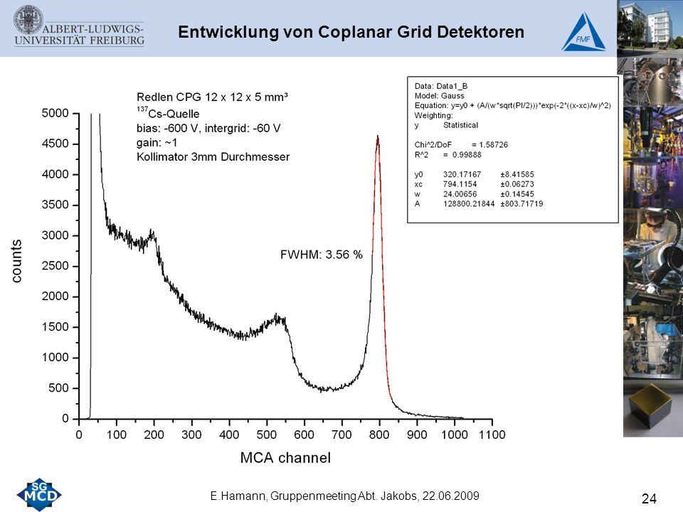 24 E.Hamann, Gruppenmeeting Abt. Jakobs, 22.06.2009 Entwicklung von Coplanar Grid Detektoren