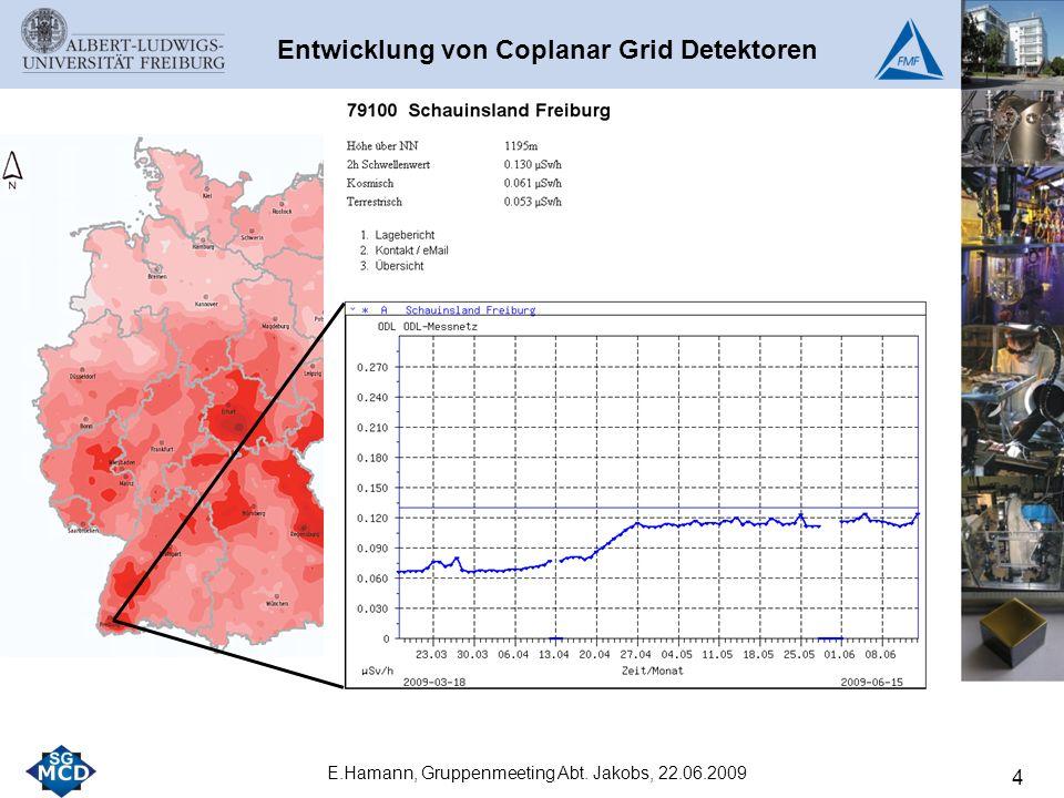4 E.Hamann, Gruppenmeeting Abt. Jakobs, 22.06.2009 Entwicklung von Coplanar Grid Detektoren